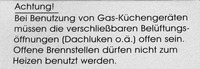 """Aufkleber """"Gas-Küchengeräte"""""""