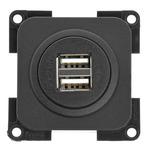 USB-Doppelladesteckdose 5V / 2x 2,5 A. Schiefergrau