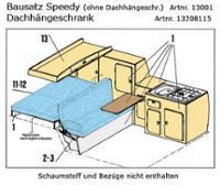 VW T3 Dachstaukasten inkl. Tragblech zur Befestigung des Bausatzes